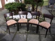 Retro set židlí 4 kusy pevná konstrukce dřevo top