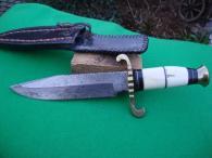 Starý velký lovecký nůž damašek z damašku bowie